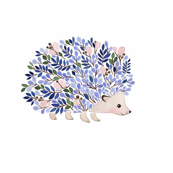 Blue floral-spined hedgehog tattoo design