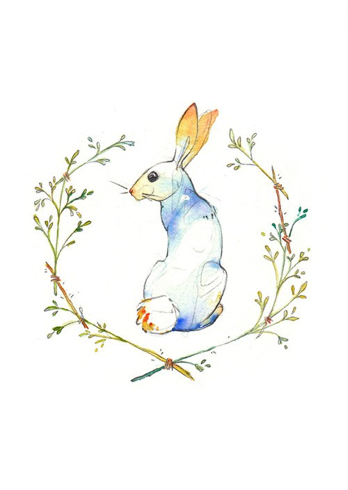 Blue hare with yellow ears in branched frame with watercolor effect tattoo design