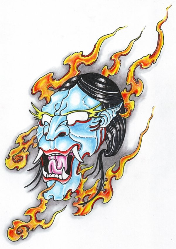 Blue japanese demon hed in orange flame tattoo design by Viking Tattoo