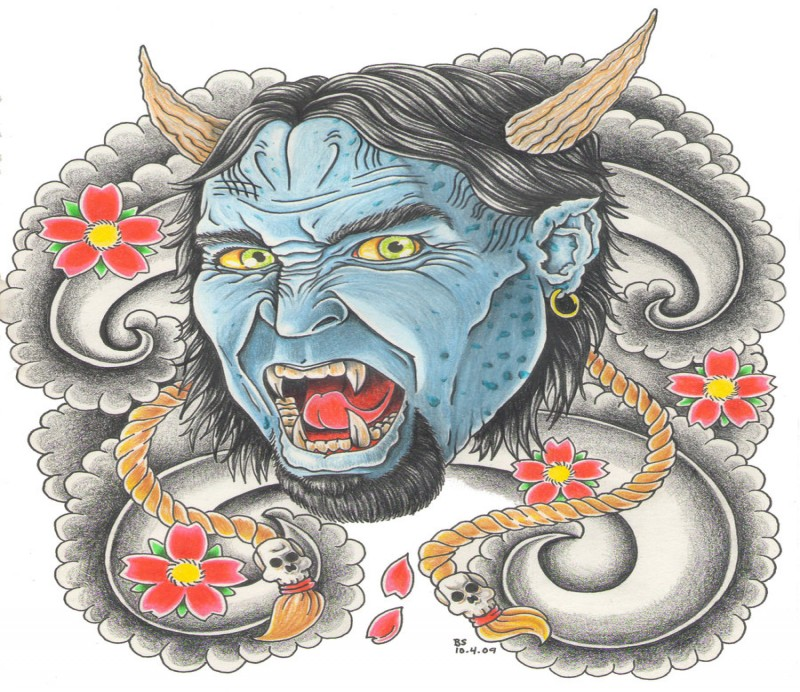 Blue japanese devil with golden earring and cherry blossom tattoo design