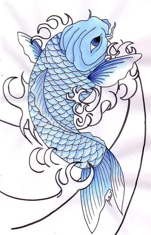 Blue koi fish in uncolored waves tattoo design