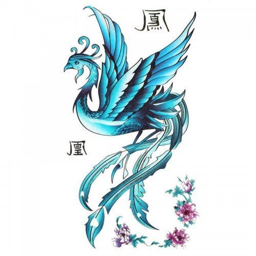 Blue phoenix with chinese hieroglyphs and small pink flowers tattoo design