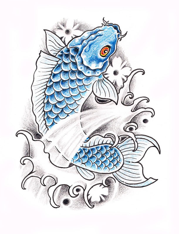 Blue red eyed koi fish tattoo design by white rose54 for Blue and white koi fish