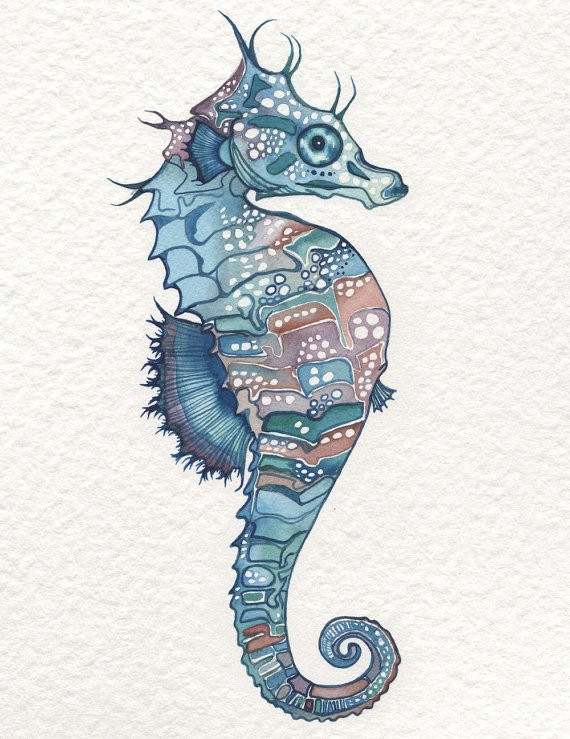 Blue seahorse with brown specked belly tattoo design