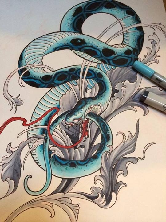Blue snake and grey leaves decorations tattoo design