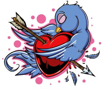 Blue sparrow and red heart pierced with arrow tattoo design