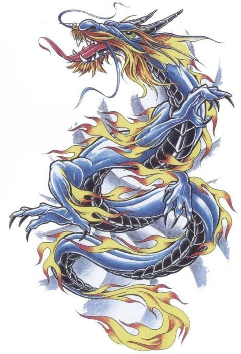 Blue traditional dragon covered with flame tattoo design