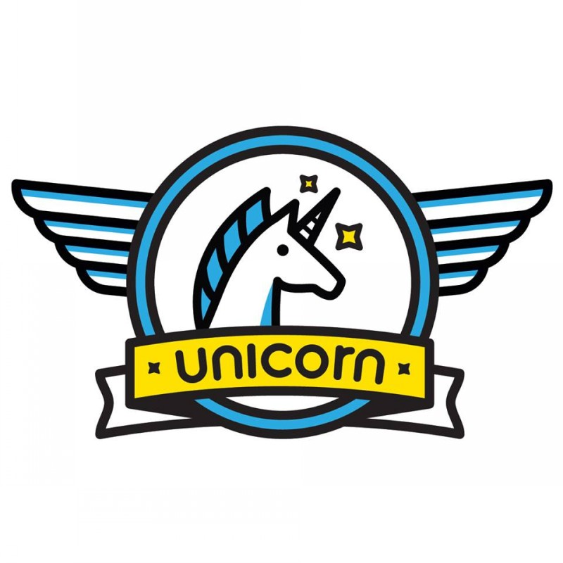 Blue unicorn head in winged frame with bright yellow banner tattoo design