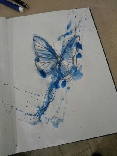blue watercolor flying butterfly tattoo design. Black Bedroom Furniture Sets. Home Design Ideas