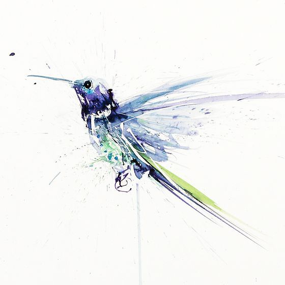 Blue watercolor flying hummingbird tattoo design ...