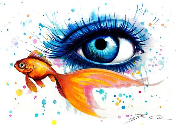 Blue watercolor girly eye and swimming gold fish tattoo design