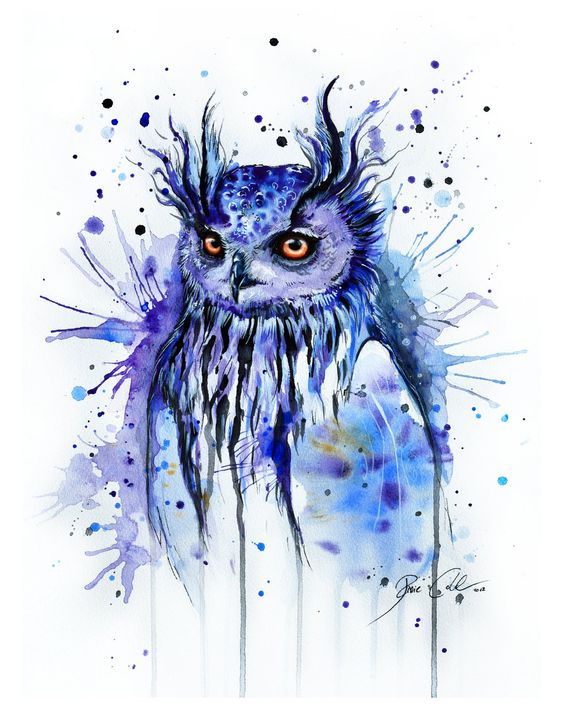 Blue watercolor owl with shining orange eyes tattoo design