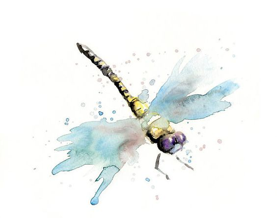 Blue watercolor wing flying dragonfly tattoo design