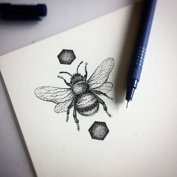 Blump dotwork bee surrounded with hexagones tattoo design