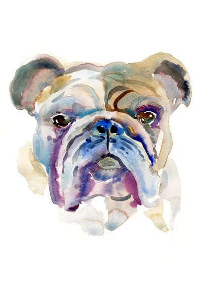 Blurred watercolor bulldog face tattoo design
