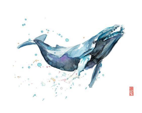 Blurred watercolor whale tattoo design
