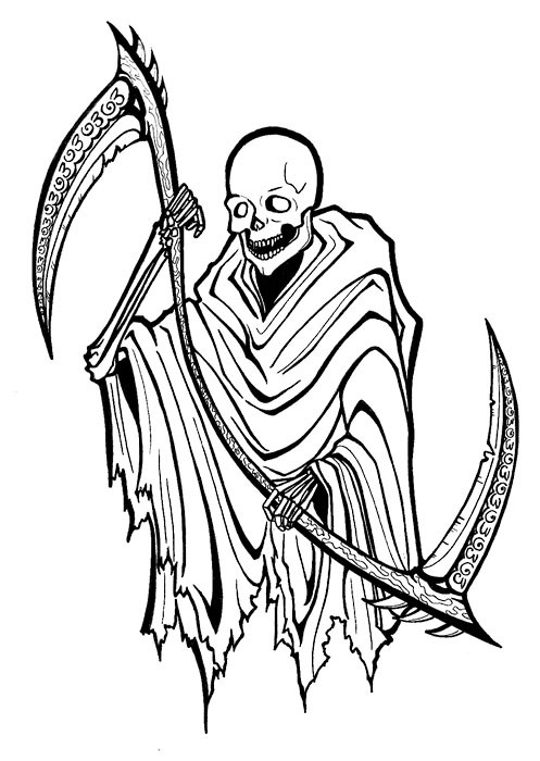 Bold death with two-sided scythe tattoo design by Sargecrys