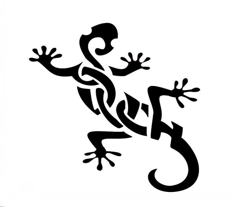 Bonny black-ink tribal lizard tattoo design