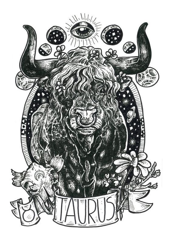 Bonny black bull portrait with banner and flowers tattoo design