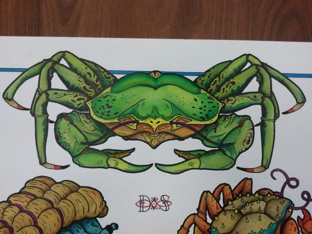 Bonny bright green crab with yellow belly tattoo design