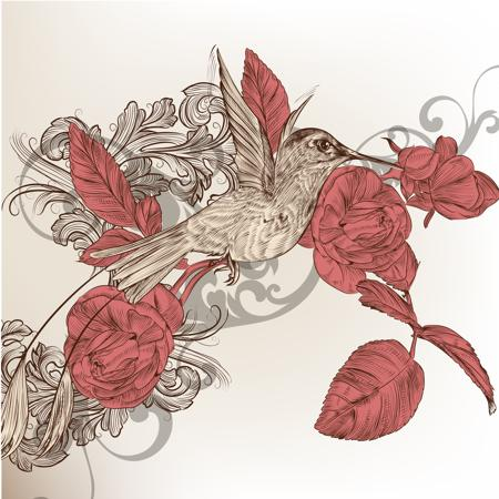 Bonny brown hummingbird with red roses ang grey swirly background tattoo design