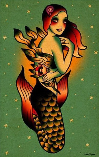 Bonny colorful old school mermaid with weeds and flower tattoo design