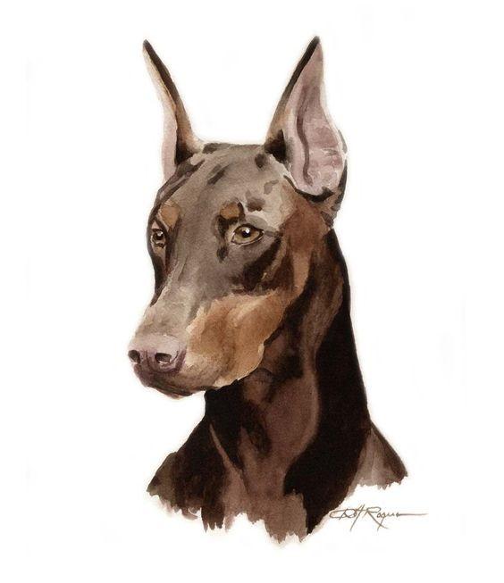 Bonny dark brown watercolor doberman tattoo design