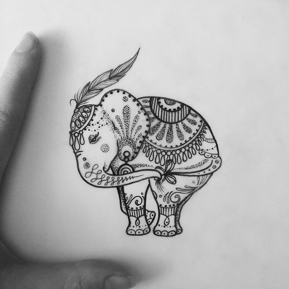 bonny dotwork ornamented elephant baby tattoo design. Black Bedroom Furniture Sets. Home Design Ideas
