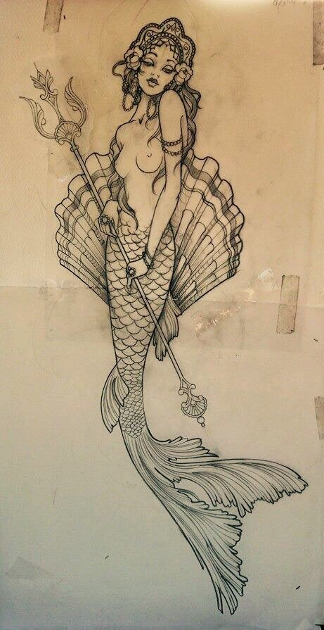 Bonny elegant mermaid keeping a trident on shell background tattoo design