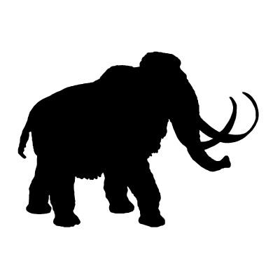 Bonny full-black walking mammoth tattoo design