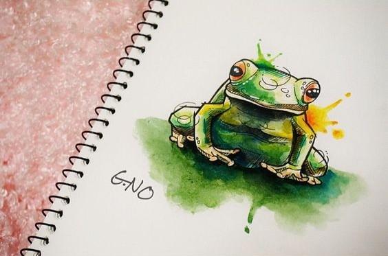 Bonny green watercolor frog tattoo design