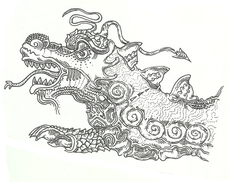 Bonny grey-ink chinese reptile head tattoo design