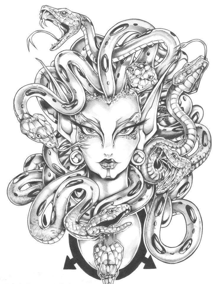Bonny grey-ink medusa gorgona with indifferent face tattoo design