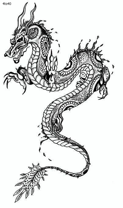 Bonny grey-ink patterned asian dragon tattoo design