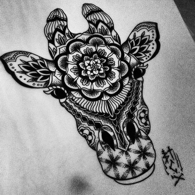 Bonny grey giraffe head with mandala and flowers of life patterns tattoo design
