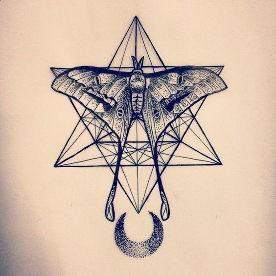 Line Drawing Moth Tattoo Design