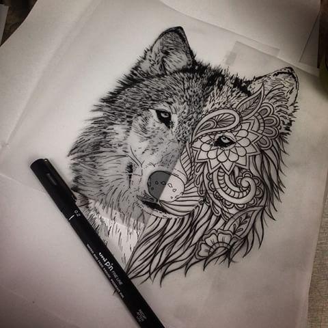 Bonny Half Ornamented Wolf Head Tattoo Design Tattooimages Biz