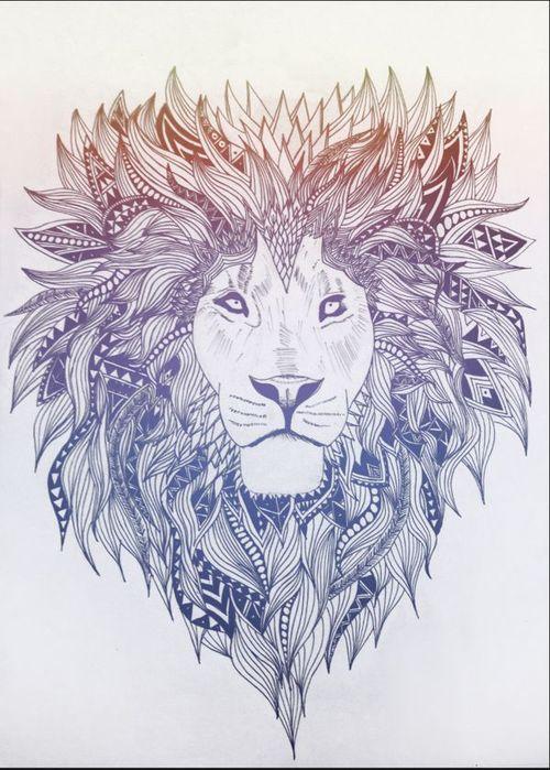 Bonny lion portrait with patterned mane tattoo design