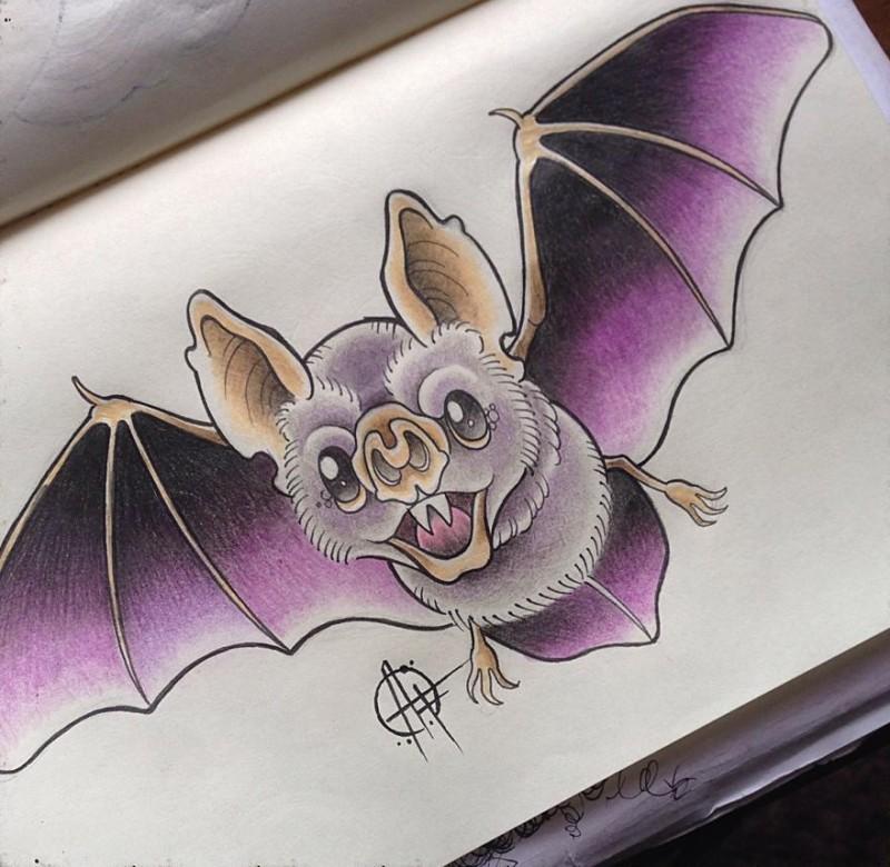 Bonny purple-winged vampire bat tattoo design by Frost Tattoo