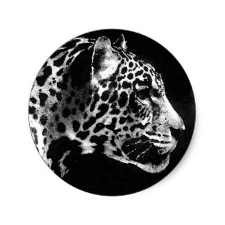 Bonny realistic jaguar head in black round frame tattoo design
