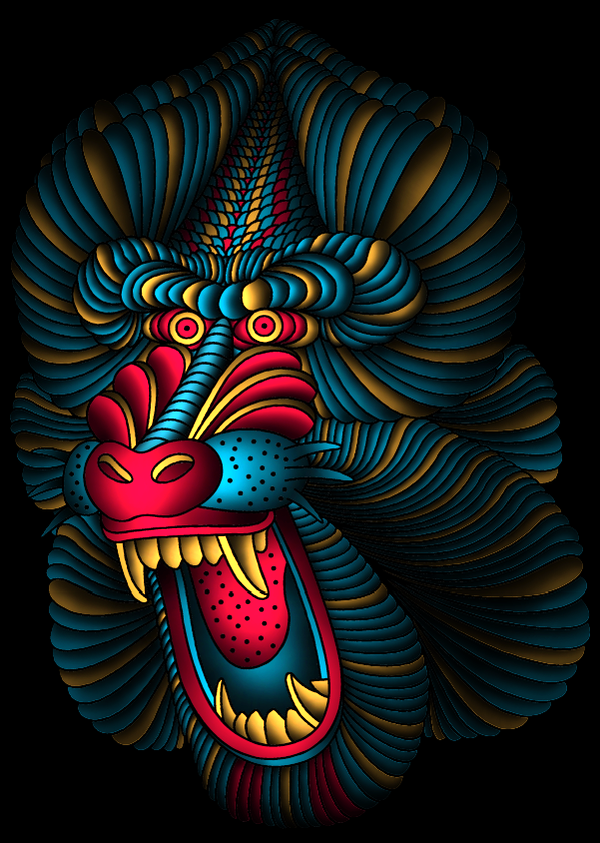 Bonny red-and-turquoise crying baboon with yellow veins tattoo design