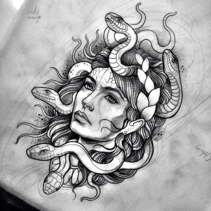 Medusa Artwork Tattoo: Bonny Traditional Colorless Medusa Gorgona Tattoo Design