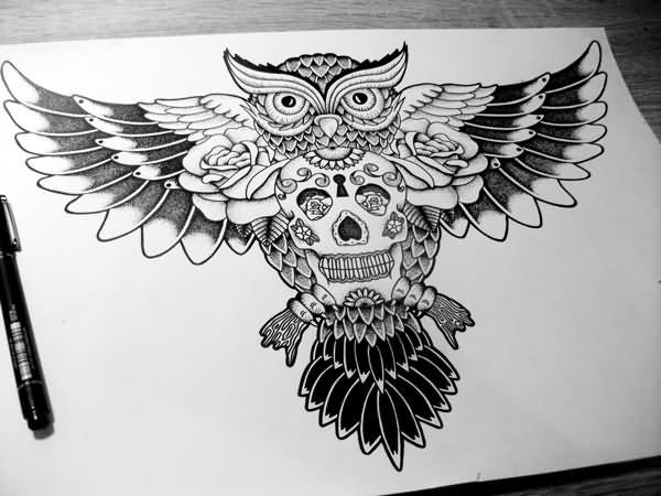 Bonny uncolored owl keeping sugar skull tattoo design