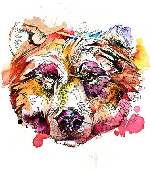 Bonny watercolor grizzly head tattoo design