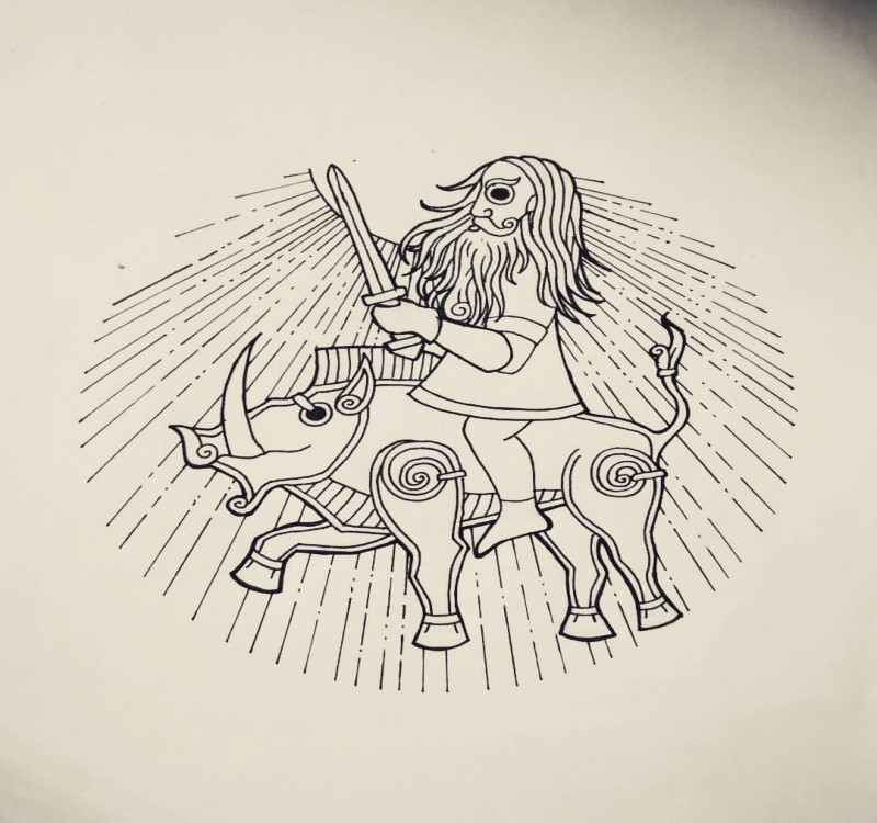 Brave celtic warrior riding the wild pig tattoo design