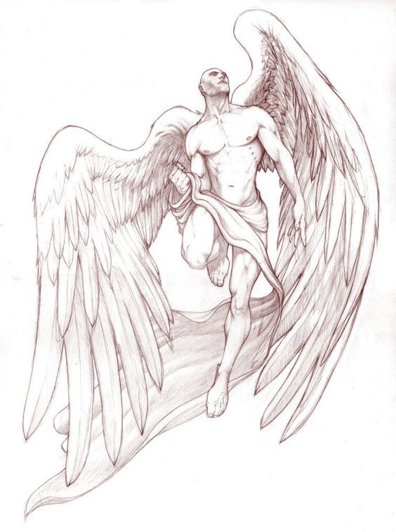 Brave male angel with a good body tattoo design