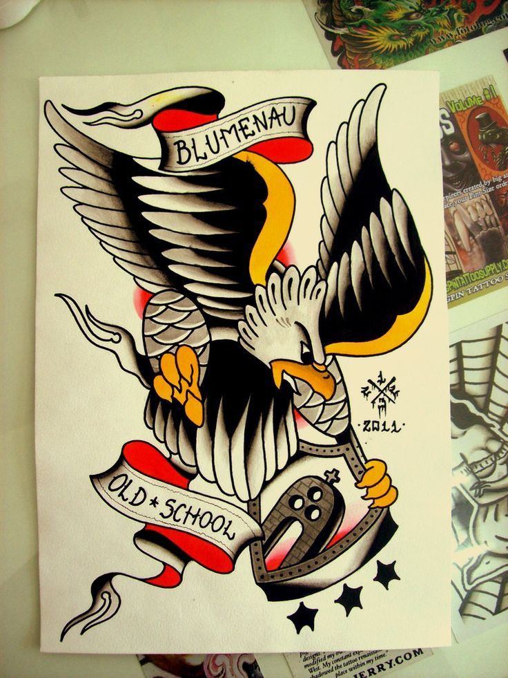Brave old school eagle with banner keeping heavy metal coat of arms tattoo design