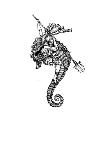 brave warrior with trident riding a seahorse tattoo design. Black Bedroom Furniture Sets. Home Design Ideas