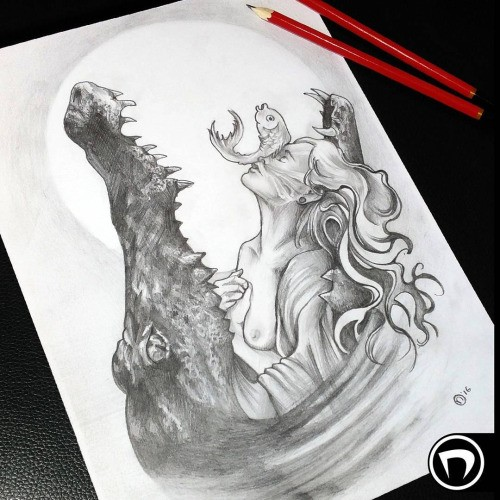 Breathtaking black-and-white young girl and fish in reptile jaws tattoo design