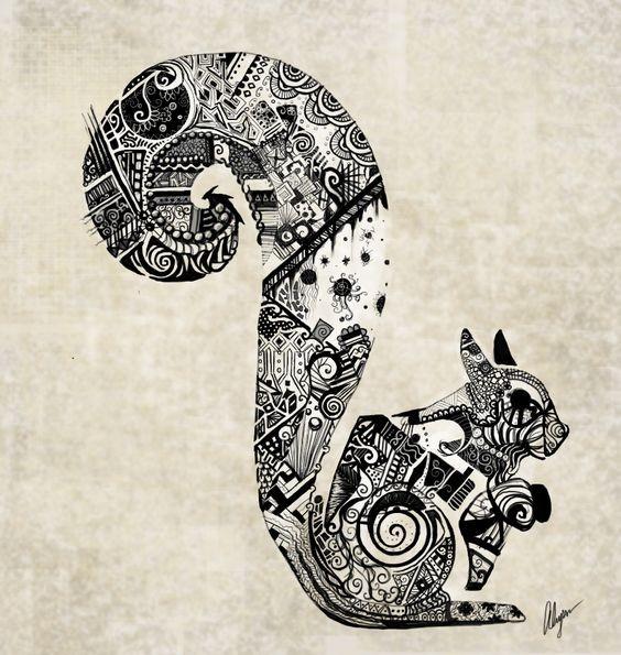Breathtaking black-ink squirrel with original detailed pattern tattoo design